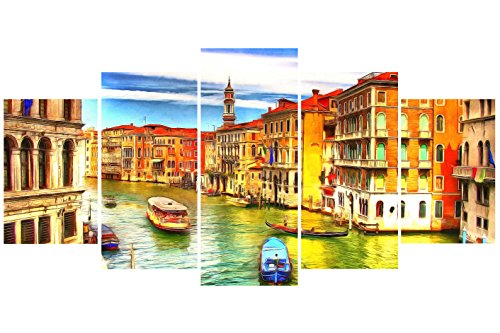 [LARGE] Premium Quality Canvas Printed Wall Art Poster 5 Pieces / 5 Pannel Wall Decor City Venice Painting, Home Decor Pictures - With Wooden Frame