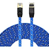 Cat 7 Ethernet Cable15FT,LiuTian CAT7 High Speed Computer Router Gold Plated Plug Flat Durable Nylon Braid STP Wires CAT7 RJ45 Ethernet LAN Networking Cable (15FT-5M-Blue Nylon)