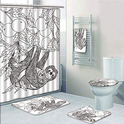 Bathroom 5 Piece Set Shower Curtain 3D Print Customized,Sloth,Lovely Sloth with Its Baby in Forest Tree Outline with Ripe Fruits Cheering Nature Decorative,Black White,Graph Customization