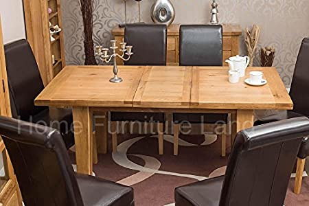 Vancouver Rustic Oak Premium Large Extending Dining Room Tables Set With 6 Padded Chairs