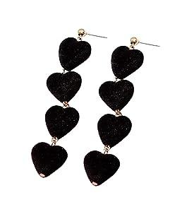 PanShui 1 pair Women Plush Pendant Dangle Earrings Heart Shaped Ear Stud Soft Touch Plush Fashion and lovely (Black)