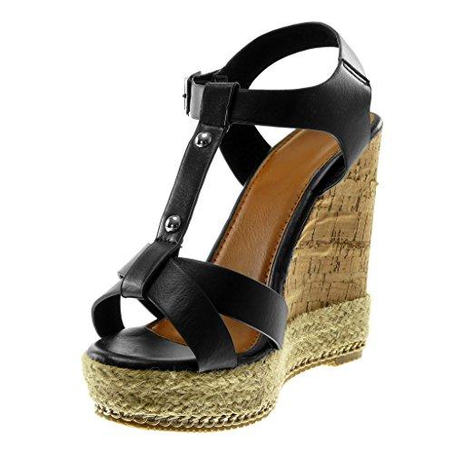 Knöchelriemen Plateau Schwarz Kork 12 Schuhe Angkorly Wedge Pantoletten Riemen Sandalen Damenmode cm 5 Plateau Gekreuzte Nietenbesetzt IaxqwP