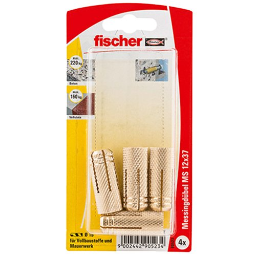 Fischer 90523 Lot de 4 Chevilles en Laiton MS 12 x 37 mm K