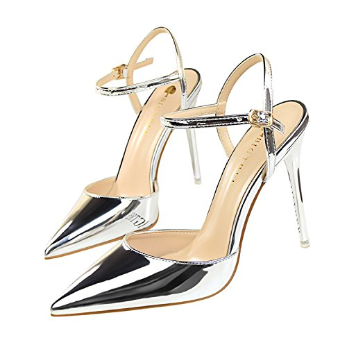 Pointed Toe High Heels Shoes Woman Shallow Slingback Pumps Ladies Buckle Strap Party Wedding Stilettos Shoes Silver 6