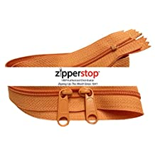 Zipperstop wholesale - Double Slide Zipper YKK #4.5 Coil with Two Long Pull Head to Head closed ended on both sides Made in USA (30 Inch, Orange)
