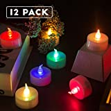 Homemory Flameless LED Tea Lights Battery Operate Fake Candles with Color Changing Pack of 12, Flickering Bulb Electric Candles Decor for Party, wedding, Home, birthday