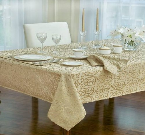 Christmas Tablescape Decor - Classic Waterford Linens Anya ivory scroll tone-on-tone pattern oblong tablecloth