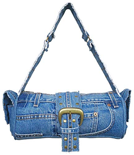 Bijoux De Ja Blue Denim Jean Studded Belt Decorative Hobo Shoulder Handbag Purse