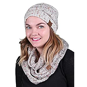 Funky Junque Womens Infinity Scarf and Slouchy Knit Beanie Matching Winter Set