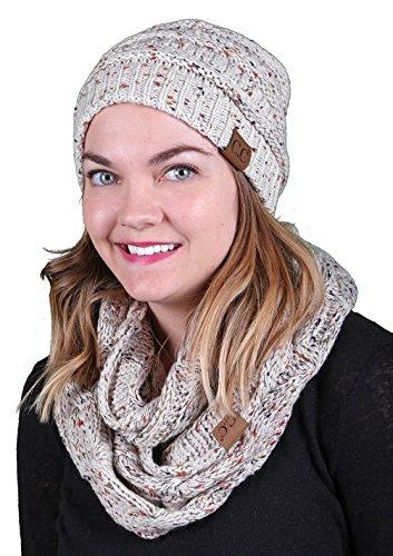 FunkyJunque aHS-6033-67 Confetti Knit Beanie Scarf Bundle - (Funky Knit Beanie Hat)