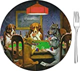 Dogs Playing Poker by C.M.Coolidge Glass Appetizer/Dessert Plate 8''