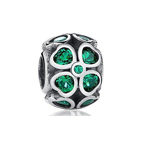 Everbling Lucky Clover Heart Petals Clover Good Luck Green CZ Dangle 925 Sterling Silver Bead for European Charm Bracelet (Lucky Clover with Green CZ) ()