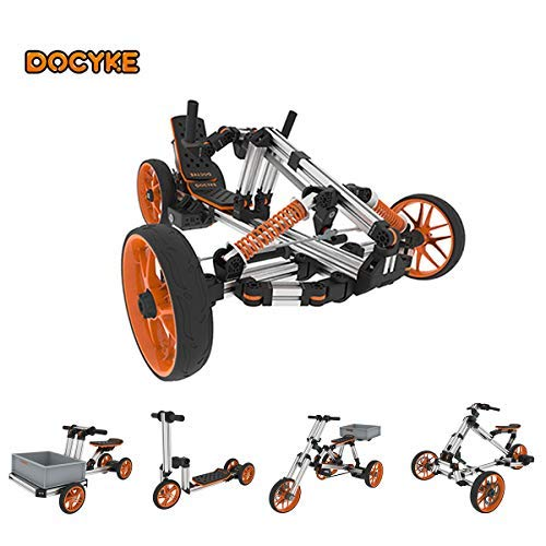(DOCYKE DIY Electric Kart Assembly Bike Mechanical Construction Car Kit Real Motor Car for Kids Engineering Vehicle Scooter for Science Experiments Circuit Building)