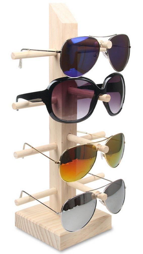 LFHT Wood Sunglasses Display Stand Tabletop Eyewear Storage Rack (4 Tier)