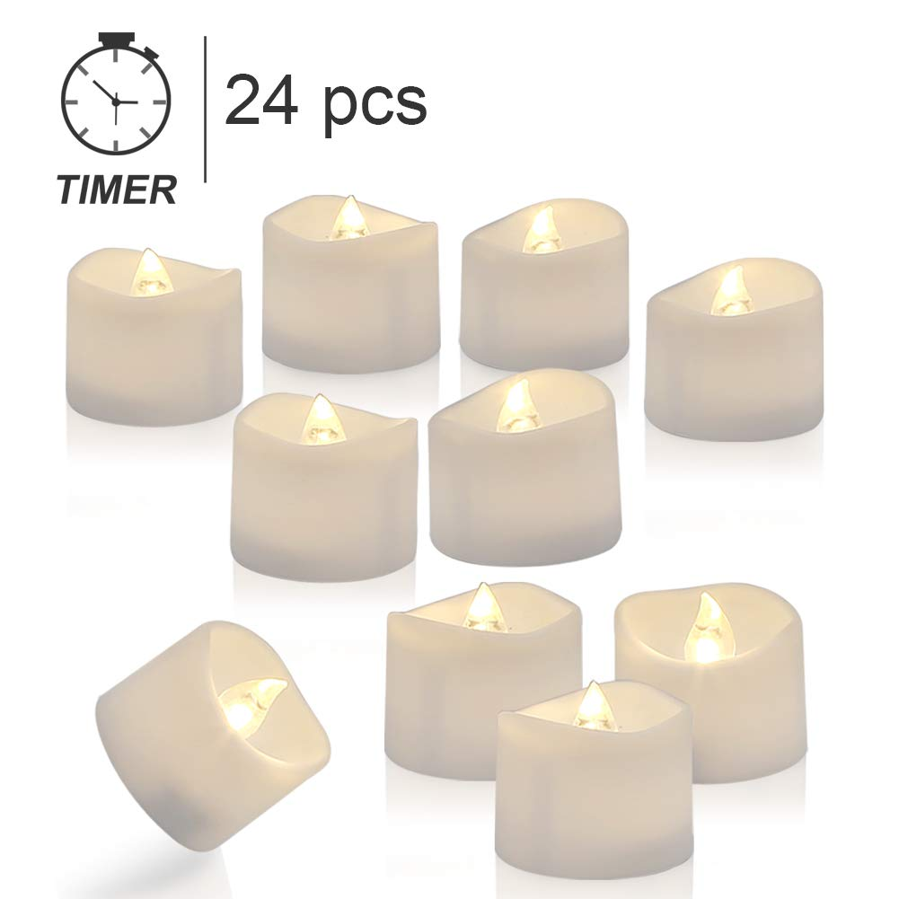 Homemory Tea Lights with Timer, Set of 24 Battery Operated Tea Candles, Warm White Flameless Flickering Electric Candles for Table Centerpieces, Mood Lighting and Home Decor by Homemory