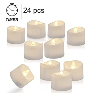 Homemory Tea Lights with Timer, Set of 24 Battery Operated Tea Candles, Warm White Flameless Flickering Electric Candles for Table Centerpieces, Mood Lighting and Home Decor