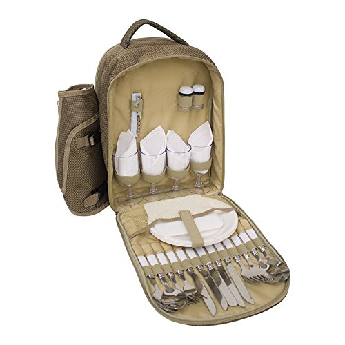4 Person Fitted Picnic Backpack in Brown (Yellowstone Picnic Basket)