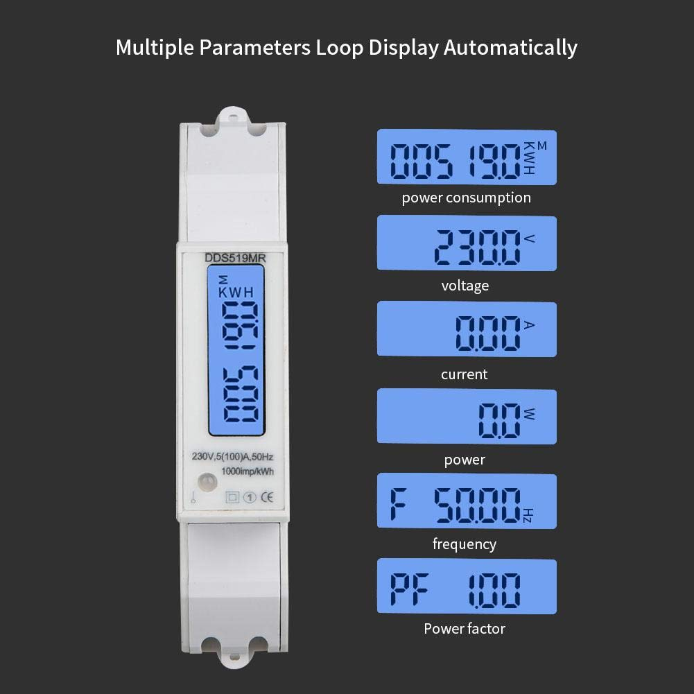 Single-Phase Energy Meter Electric Meter DDS519MR Muilt-Functional 230V AC 1P Power Meter 35mm DIN-rail KWH Meter with RS485 Modbus