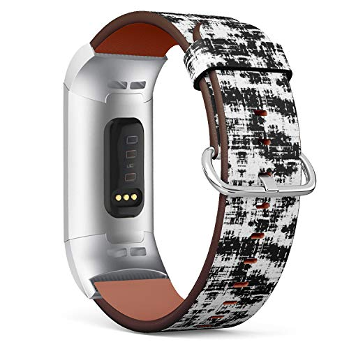 Grunge Overlays - Compatible with Fitbit Charge 3 & 3 SE - Leather Wristband Bracelet Replacement Accessory Band (Includes Adapters) - Overlay Grunge Blackwhite