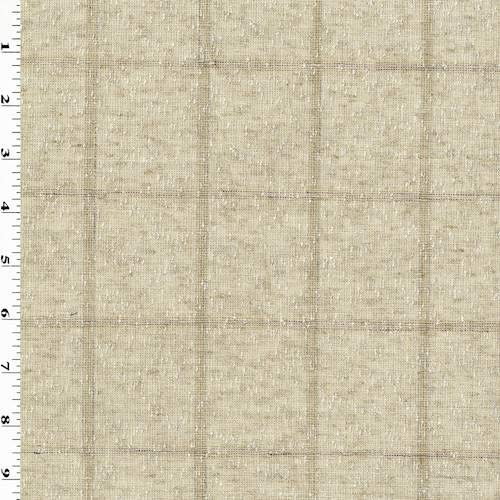 Natural Beige Linen Blend Texture Grid Woven, Fabric by The Yard