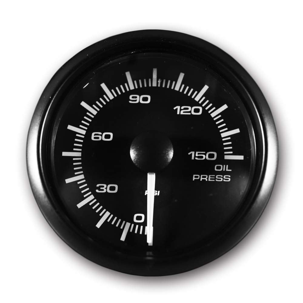 MOTOR METER RACING Electronic Oil Pressure Gauge PSI 2'' LED Backlit White Amber Waterproof Pin-Style Install by MOTOR METER RACING