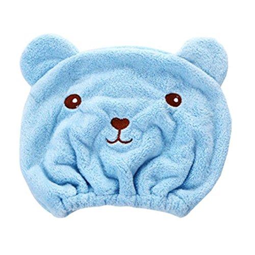 Dry Hair Hat ,Cute Microfiber Hair Turban Quickly Dry Hair Hat Wrapped Towel Bathing Cap Useful Home Textile Towel (blue)