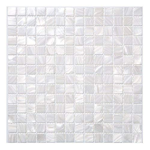 Diflart Oyster White Mother of Pearl Mosaic Tile, 33 Sheets/Box (Square,Pearl Shell)