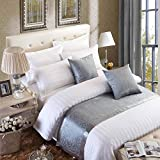 OSVINO European Style Luxury Modern Smooth Bed Runner Scarf Bedding Protection Decoration for Bedroom Hotel, Grey 210X50cm for 150cm Bed