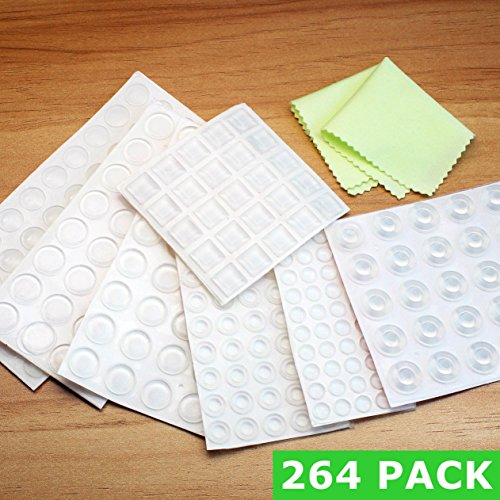 Bstean 264 Pieces Clear Rubber Feet Bumper Pads Adhesive for Cabinet Door Drawer Self Stick Transparent Bumpers Noise Dampening, 7 - Glasses Bum
