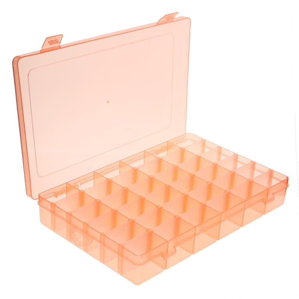 VANKER Ranuras 36 cuadrí culas compartimentos Claro joyerí a PP ajustable del organizador del almacenaje caja -- naranja