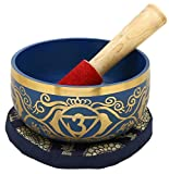 ShalinIndia Ajna Indigo Buddhist Singing Bowl - Tuned to the 6th Chakra Third Eye Chakra - Fine Quality Brass - 5 Inches - Ideal for Meditations, Ayurveda & Yoga