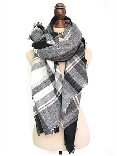 Zando Plaid Blanket Thick Winter Scarf Tartan Chunky Wrap Oversized Shawl Cape L White Black
