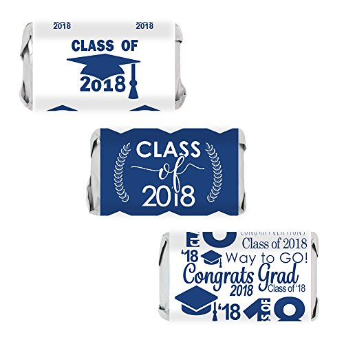 Class of 2018 Graduation Miniatures Candy Bar Wrapper Stickers, Set of 54 (Blue) -