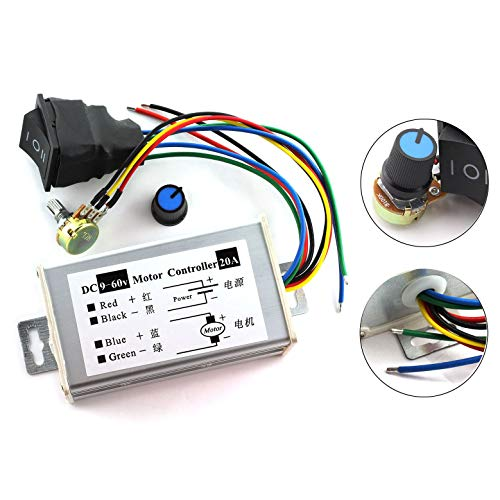 - DZS Elec 1pc DC Motor Speed Controller 9-60V Forward/Reverse High Power PWM Control Switch Motor Speed Regulator DC 12V 24V 36V 48V 60V 20A 1200W