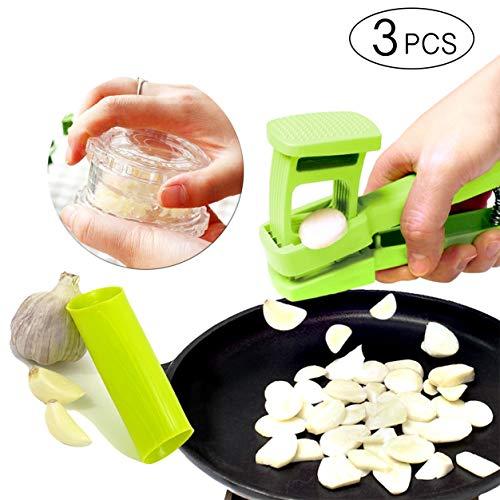 Klenn - Juego de 3 piezas de ajos y jengibre sin olor para manos con cortador de ajos, cortador de minerales de ajos y...