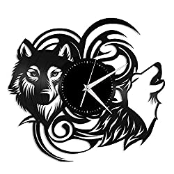 VinylShopUS - Wolf Woods Vinyl Wall Clock Record Famous Animals | Unque Gift Wolf Lovers for Friends | Decoration Home Room