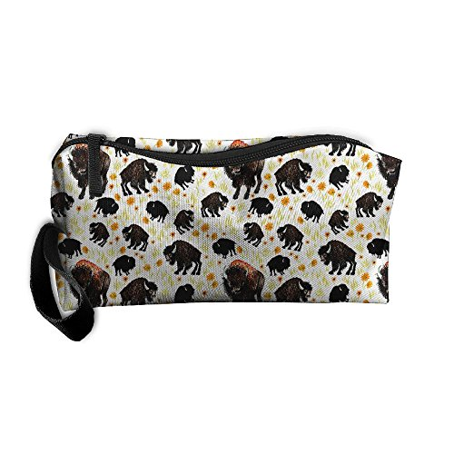 (FRTSFLEE Buffalo Bison Southwestern Pencil Case Travel Toiletry Bag Receive Bag Pencil Bag Durable Pouch Zipper Big Capacity Trave Makeup Organizer Bag)