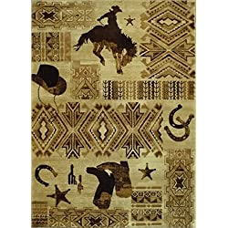 Western Area Rug Design 385 Lodge (3 Feet 10 Inch X 5 Feet 1 Inch)