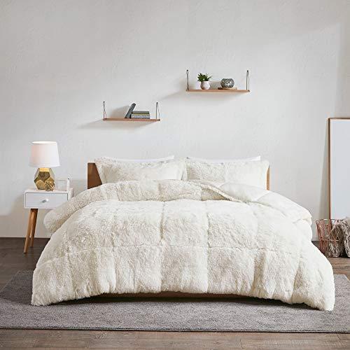 3 Piece Ivory Faux Fur Comforter King/Cal King Set Micromink Bedding Soft Plush Velvet Fluffy Comfy Cozy Mink Heavyweight Reversible, Microfiber