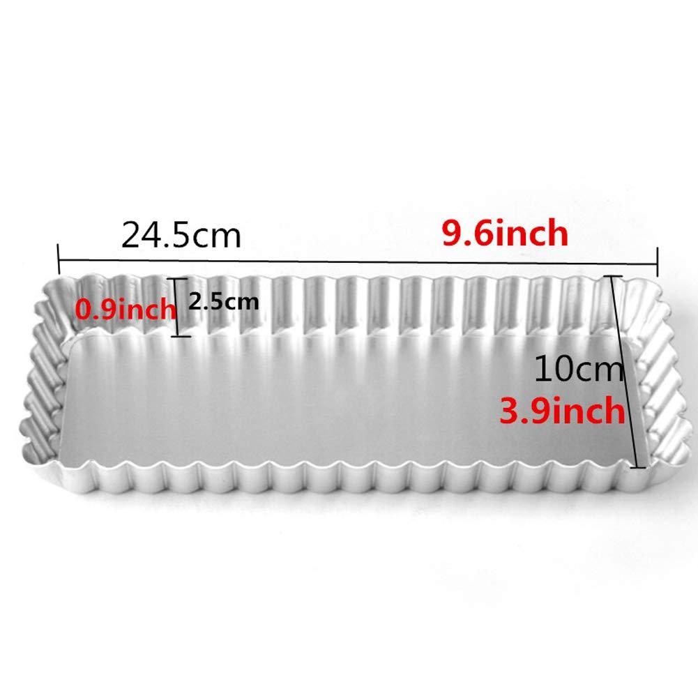 25cm Rectangle Moule /à Tarte cannel/ée Outil de Cuisson de Quiche /à Fond antiadh/ésif Amovible Ancdream 10 Pouce