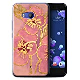 STUFF4 Gel TPU Phone Case / Cover for HTC U11 / Baby Pink Design / Floral Silk Effect Collection