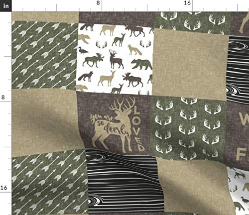 Spoonflower Cheater Quilt Fabric - Woodland Hunting Deer Buck Patchwork Baby Boy Nursery Quilt by Littlearrowdesign Printed on Basic Cotton Ultra Fabric by The Yard