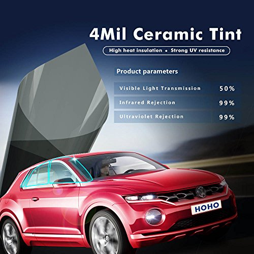 HOHO 39.3'' x32.8ft Car Window Tint 50% 4mil Nano Ceramic Solar Tint Block Sun Anti UV for Side Rear Window by HOHO