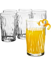 Bormioli Rocco WIND Italian Drinking Glasses, 16¼ Ounce Water Glass (6 Pack) Mojito Glasses, Bar Glass, Glass Cups for Water, Juice, Beer, Drinks, Whiskey, Highballs, Cocktails, Lead-Free Pint Glasses