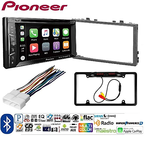 Pioneer AVH-1400NEX Double DIN Apple CarPlay In-Dash w HONK830 DIN Radio Installation Kit For '86-13 Honda Car License Plate Rearview Camera