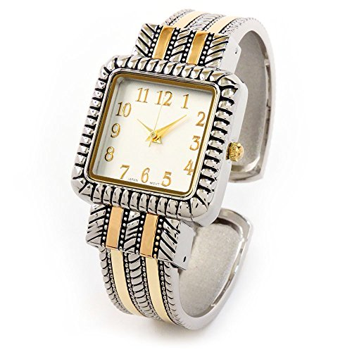 2Tone Western Style Decorated Square Face Women's Bangle Cuff (Western Style Bangle Watch)
