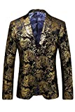 MY'S Men's Luxury Casual Dress Floral Suit Notched Lapel Slim Fit Stylish Blazer Gold on Black XL