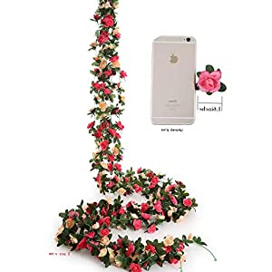 Mikash 5pcs s 8.2 FT Fake Plastic Fabric Silk Artificial Rose Flower Wisteria Ivy Hanging Vine Garland for Home Wedding Table Tion (Pink-03)     Model WDDNG - 1254 1