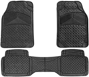 Black Universal Rubber Car Mats Fits Toyota Auris Touring Sports