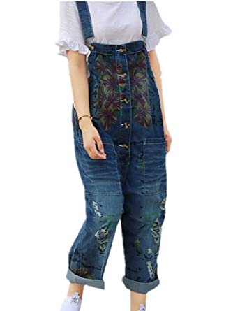 BOMOVO Damen Latzhose Denim Hose Pants Overall Jeanshose Haremshose Blau